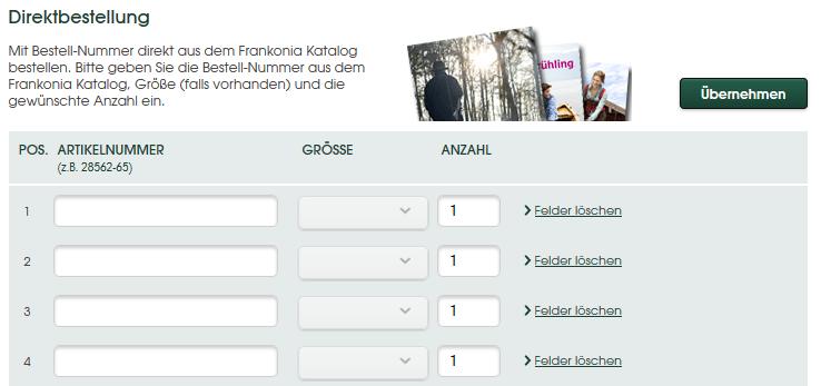 Beispiel für eine einfache Direktbestellmöglichkeit bei Frankonia.de